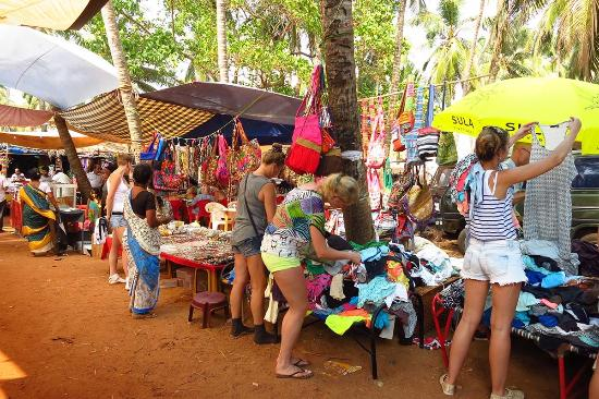 Anjuna, India: A variety of clothes to choose and then bargain
