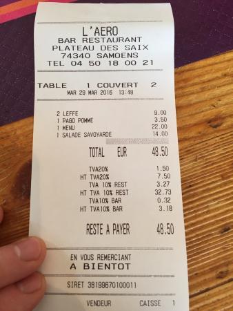 Chalet L'Aéro : Good value for money, for excellent food. Three course set menu, two beers, huge salad, apple ju