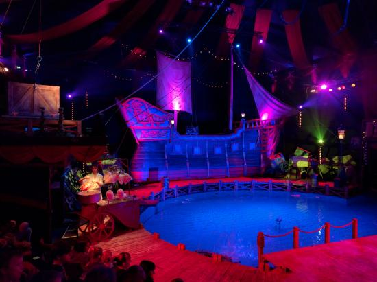The large pirate ship and central pool at the pirate show for Extreme pool show