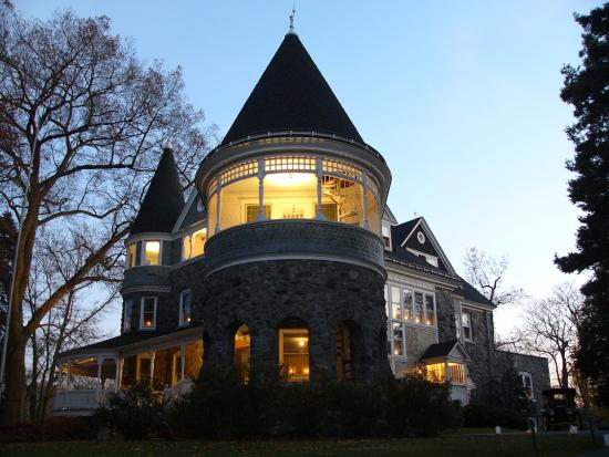 Yorklyn, DE: The Marshall Mansion lit up at night