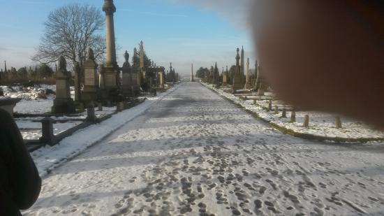 Undercliffe Cemetery: The promanade in Winter.