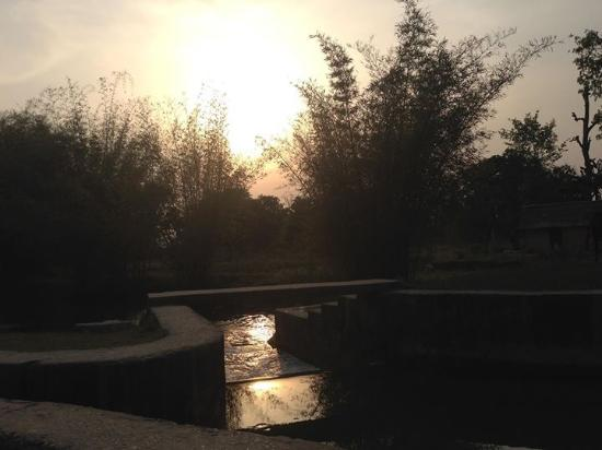 Nature Safari Resort & Lodge: Sunset at the front of the resort