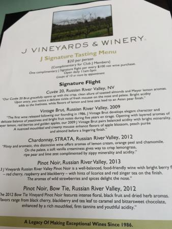J Vineyards & Winery: The Signature Tasting Menu