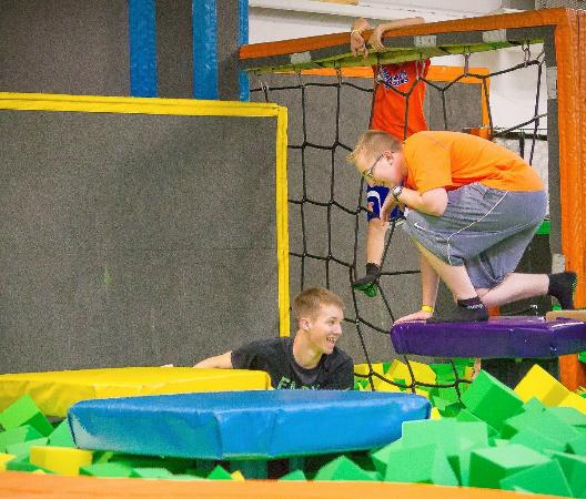 Foam Pit Area, With Climbing Wall.