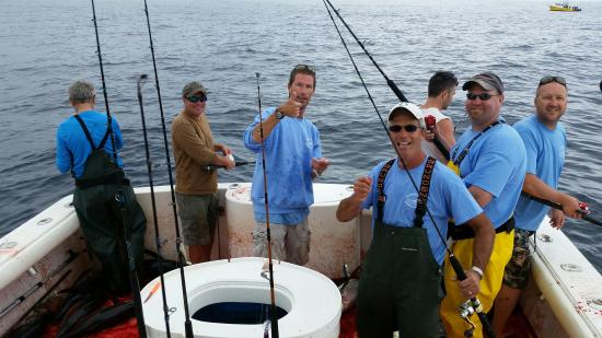 Ilwaco, WA: Happy Fishermen rigging up after a big catch