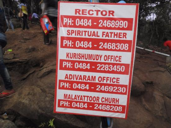Phone numbers for Malayattoor church