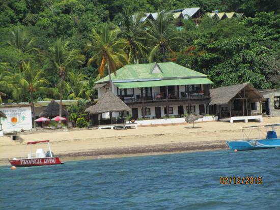 L'Hotel Coco Plage: Vu de la mer, en revenant de plongée