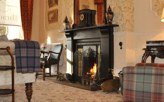 The Bradley: Roaring fire in the Drawing Room