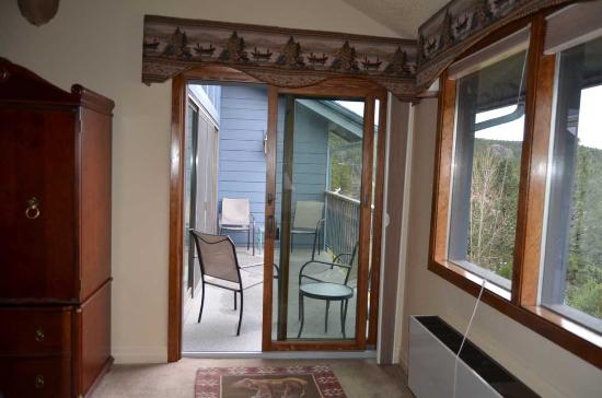Bigfork, MT: view bedroom opens out onto the balcony