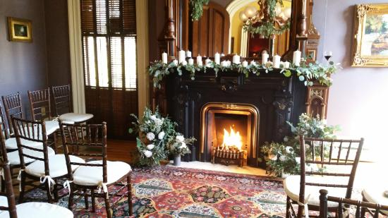 The Mansion of Saratoga: Front parlor, ready for the ceremony