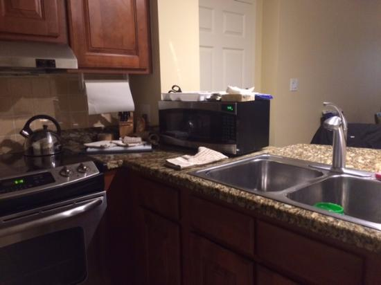 microwave takes up most of counter space and utensil tray stacked on rh tripadvisor com au