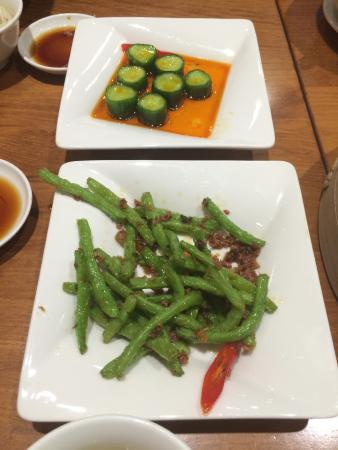 The cucumber dish was awesome, beans were just ok