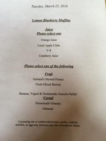 Garland's Oak Creek Lodge: Breakfast menu