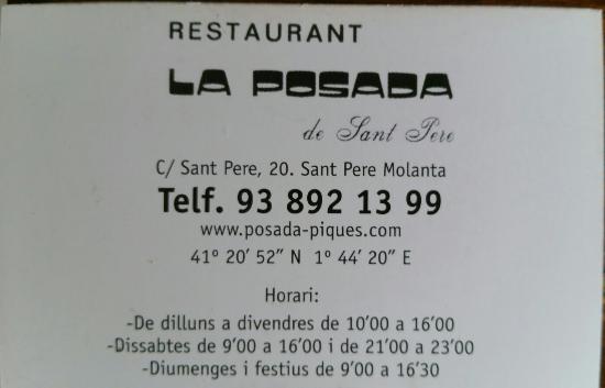 Sant Pere Molanta, إسبانيا: Restaurant La Posada de Sant Pere