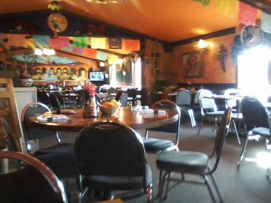 Melrose, MN: A view of the brightly colored restaurant on the inside.