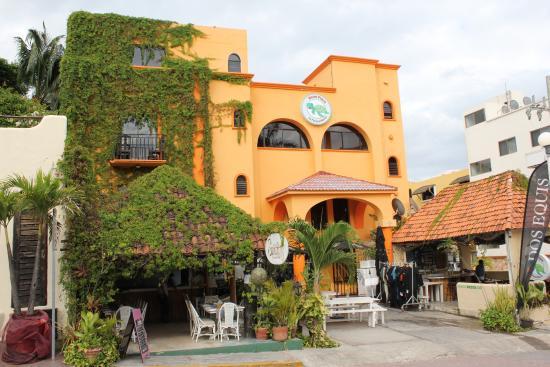Hotel Plaza by Phocea: Vue du club de plongée. Les briefings sont faits sur les grandes tables.