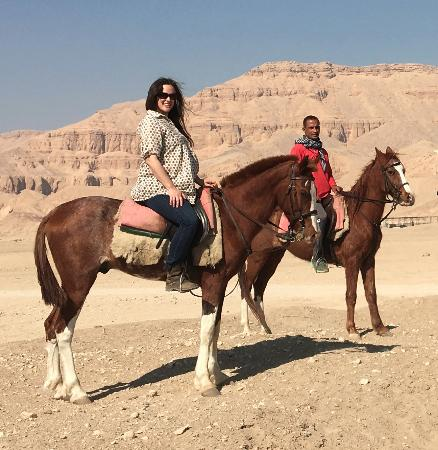 Pharaoh's Stables : Me and Hassan with the Theban mountains behind...my happy place :-)