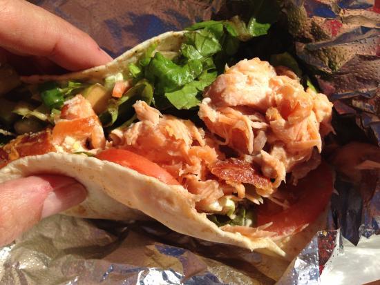 Cayucos, CA: Smoked Salmon taco with fixins