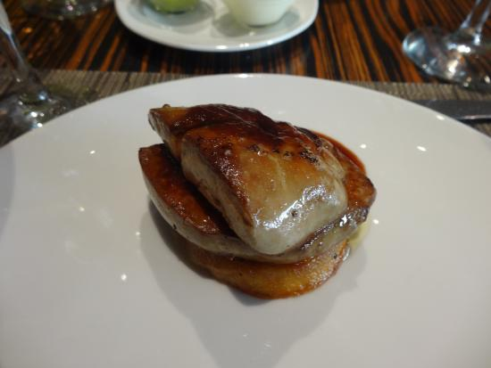 Marina Gril: Goose fois gras- seared on the grill with glazed chestnuts and port sauce.