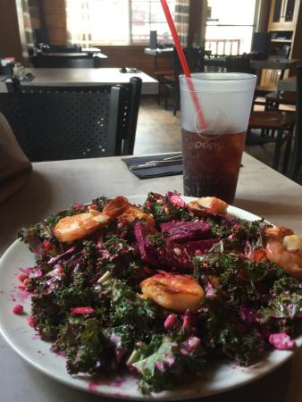 North Shore Cafe: Best salad I have ever had! Beets/kale/shrimp/carrots/,blue cheese(?), raspberry vinaigrette, pi