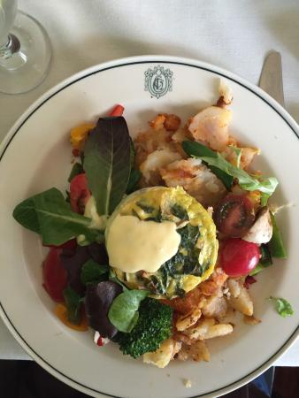 Bangor, PA: Mushroom, spinach, goat cheese frittata  and crab cakes withe eggs.