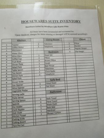 Hawthorn Suites by Wyndham Orlando Lake Buena Vista  Housekeeping inventory  sheet. Housekeeping inventory sheet   Picture of Hawthorn Suites by