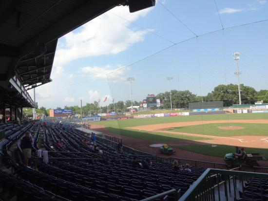Trustmark Park: looking down from home plate towards left field