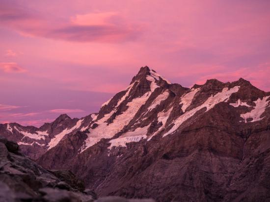 Mt Sefton at sunrise on Ball Pass Crossing