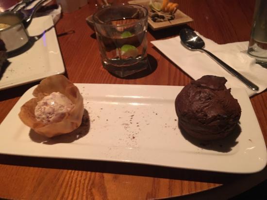 Left Bank: Rob eye steak and chocolate fondant