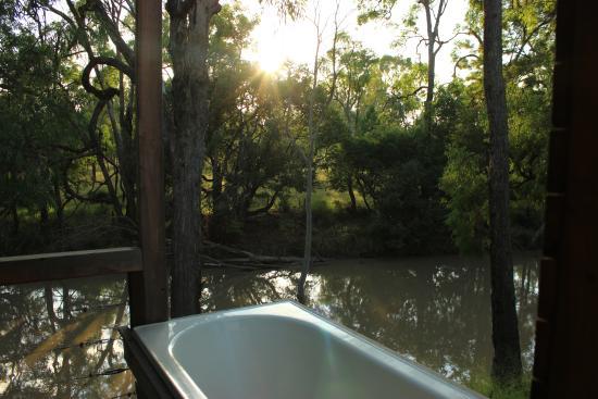Chinchilla, Australia: private outdoor bath overlooking the river