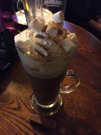 The Royal Oak Braithwaite Restaurant: The hot chocolate is what you need after a wet walk....