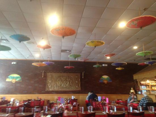 Tasti Thai: The ceiling is decorated with multi-colored parasols hanging upside down-very pretty.