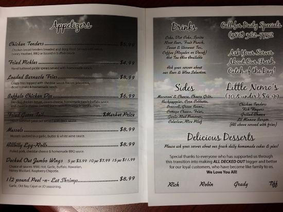 All Decked Out Cafe To Go Menu
