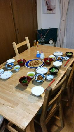 Mayukou0027s Little Kitchen Japanese Cooking Class The table set up with our meal. Mayuko & The table set up with our meal. Mayuko explained the arrangement of ...
