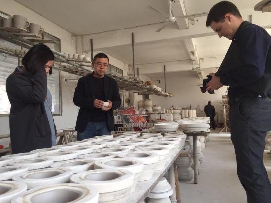 The press-mould studio in Jingdezhen.