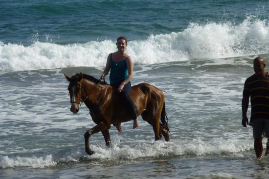 Atlantic Ss Riding Les Horseback On St Lucia Beach