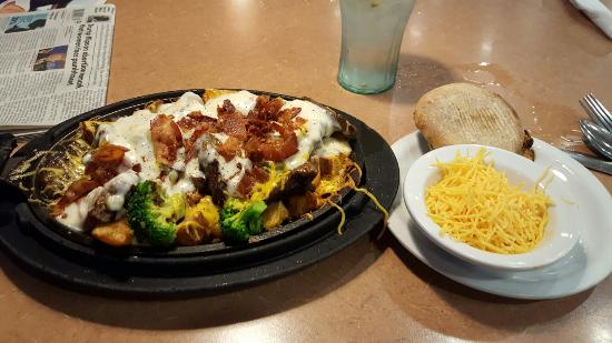 El Reno, OK: Bacon, Prime Rib & broccoli, country roasted potatoesn gravy, with cheese on the side. english m