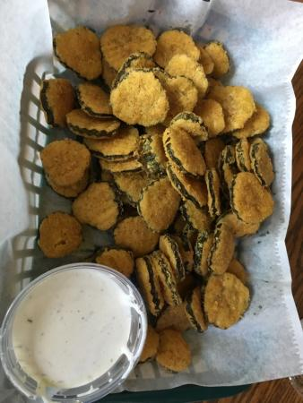 Tullahoma, TN: Burgers, fries, and fried pickles with homemade ranch, what?!?! Yum!