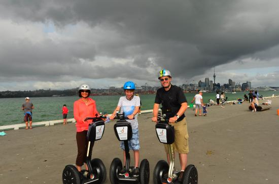 MagicBroomstick (Segway) Tours : End of tour at Victoria Wharf, looking over the bay to Auckland