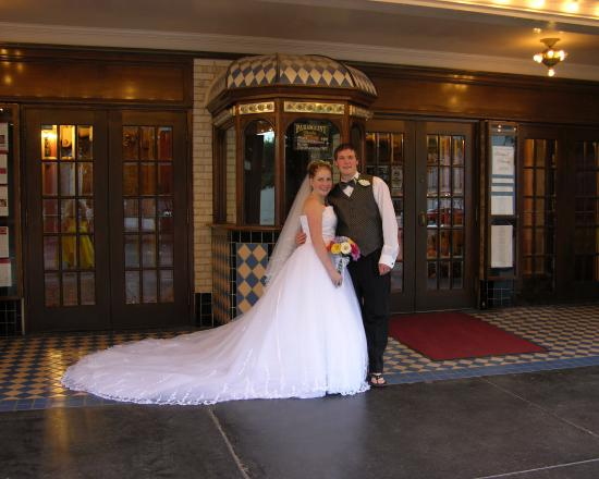 Paramount Theatre: Wedding photo I made of the Condras in front of the historic Paramount box office.
