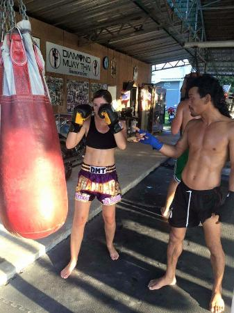 Diamond Muay Thai: Me taking direction from Mon, head trainer and owner