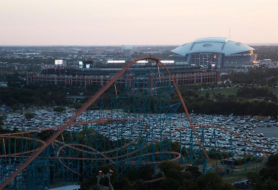 at t stadium globe life park and the titan roller coaster at six rh tripadvisor ca