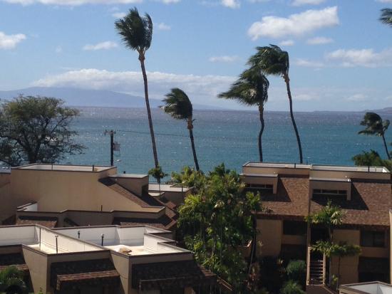 Kamaole Beach Royale Resort: View from Lanai. Kam I beach with lifeguard just across the street.