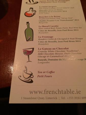 the menu picture of the french table limerick tripadvisor rh tripadvisor ie