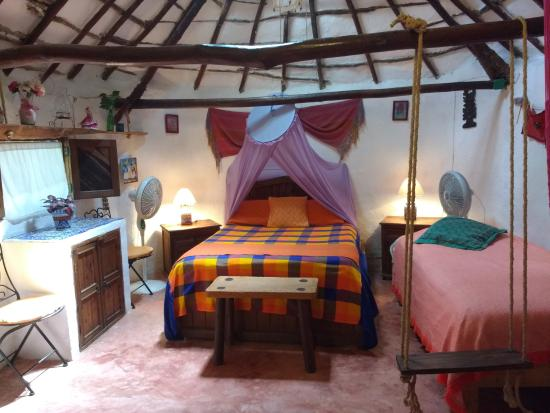 Casitas Kinsol Guest House in Puerto Morelos - Room #1 is an authentic Mayan Hut built in the la