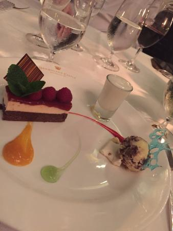 Dromoland Castle Hotel: Strawberry cheesecake with a chocolate brownie base, cookie icecream, champagne foam, fruit pure