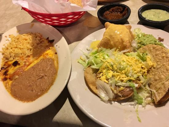 Julio's Cantina : Julio's Special. Chalupa, taco, queso puff, and cheese enchilada.