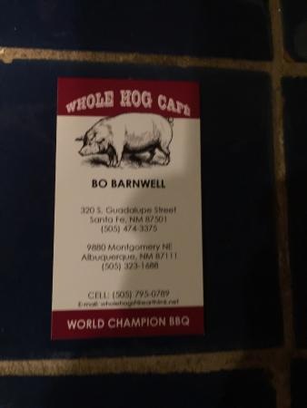 Whole Hog Cafe : Business card