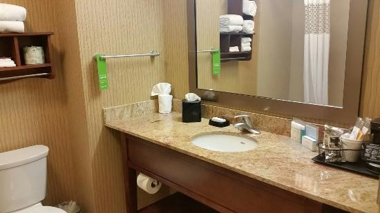 Hampton Inn Boston Braintree: Clean bathroom with Neutrogena bath products.