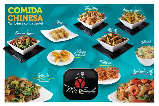 yakissoba mix sushi comida chinesa e japonesa